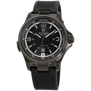 Victorinox-241596-Night-Vision-Stainless-Steel-Black-Rubber-Strap-Men-039-s-Watch