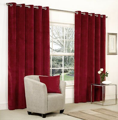 NEW 1 Pair Cranberry Red Velvet Ring Top / Eyelet Curtains - Lined - 9 Sizes
