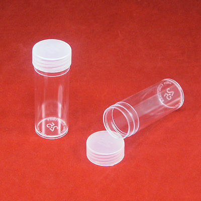100 Round Plastic Coin Storage Tubes for Quarters with Screw On Caps