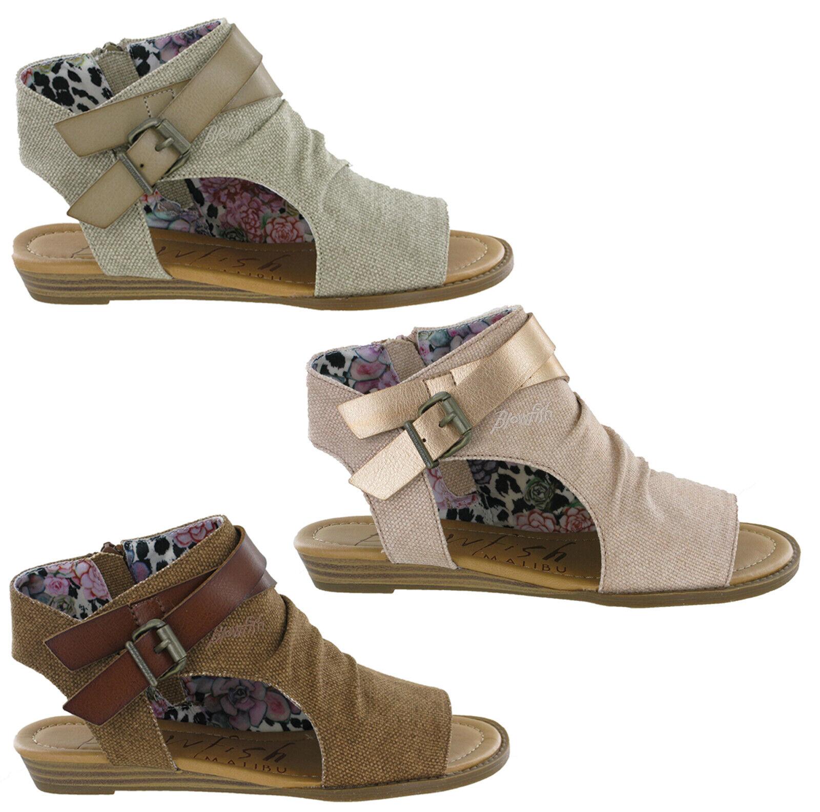 Blowfish Balla Flat Sandals Womens Open Toe Fashion Casual Zip Up Ladies shoes