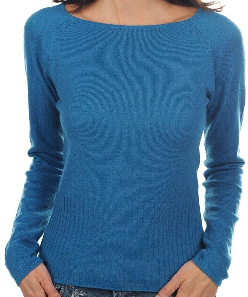 Balldiri 100% Cashmere Damen Pullover Rundhals 2-fädig leuchtendes blau L