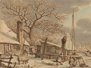 JACOB-CATS-DUTCH-FARMYARD-WINTER-OLD-ART-PAINTING-POSTER-PRINT-BB5731A