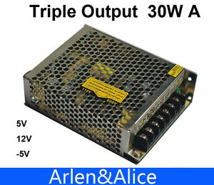 Details about 30W Triple output 5V 12V -5V Switching power supply smps AC  to DC