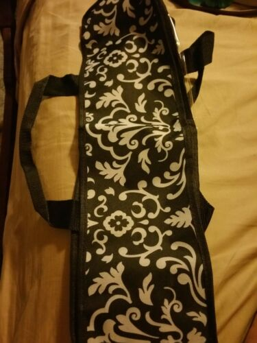 CD Storage bag Black and gray damask Clear side to see contents