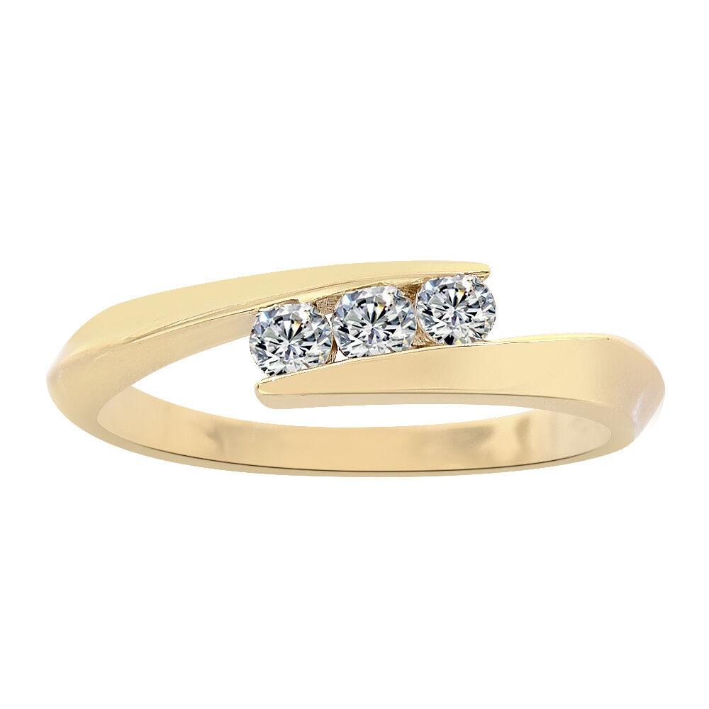 0.25 Carat Three Round Cut Diamonds 14K Yellow gold Ring