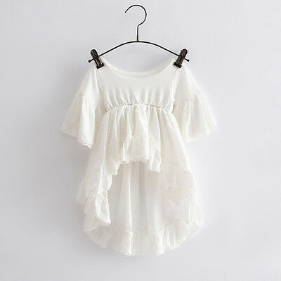 Toddler Kids Girls Casual Irregular T-shirt Tops Princess Ruffled Tee Mini Dress