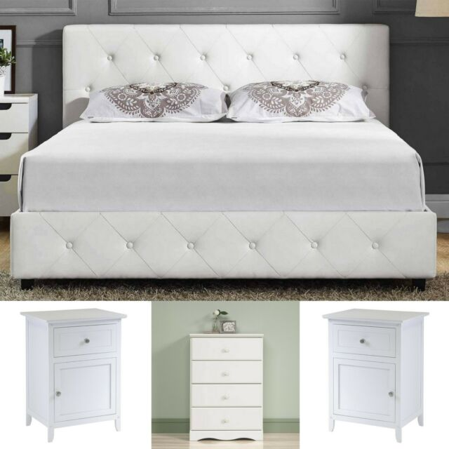 9d05a853963c Queen Size Bedroom Set White Leather Platform Bed 2 Nightstands 4 Drawer  Chest for sale online