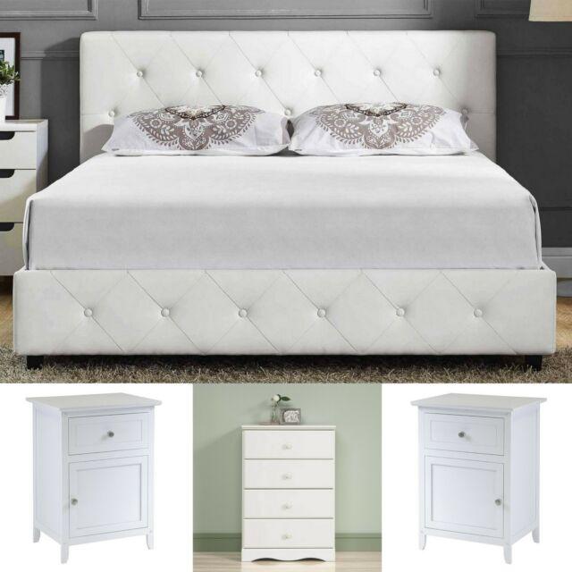 Queen Size Bedroom Set White Leather Platform Bed 2 Nightstands 4