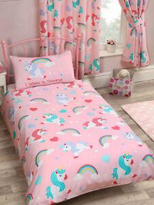 Bettwäsche Einhorn Regenbogen Herzen Bettgarnitur Kinder Mädchen