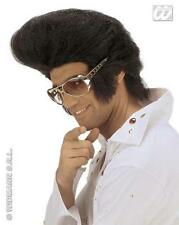 LARGE Nero Elvis Parrucca Enorme QUIFF Premium Qualità ROCK N ROLL Rocker Costume