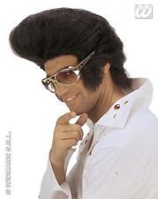 Grande Negro Elvis Peluca enorme Quiff Calidad Premium Rock N Roll Rocker Fancy Dress