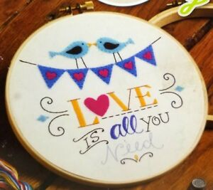 Stamped-Embroidery-Kit-Love-Is-All-You-Need-Birds-Bucilla-New-WM47643E