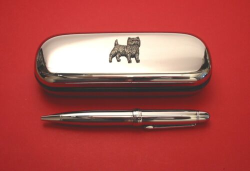 Cairn Terrier Motif On Chrome Pen Box Ball Point Pen Mum Dad Stationary Gift