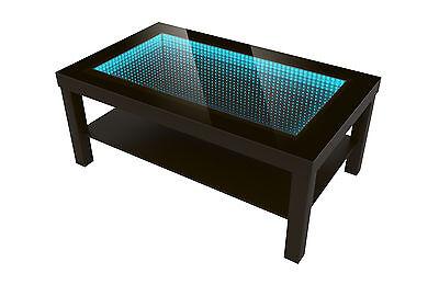 Modern Couchtisch Glastisch Beistelltisch TIEFENEFFEKT TISCH 90x55 LED 3D Wenge