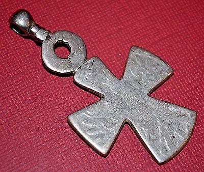 Antique Ethiopian Christian Cross Pendant Cut Maria Theresa Thaler Silver Coin