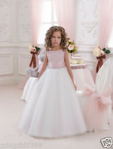 Details about Flower Girl Dresses Communion Pageant Wedding Easter Graduation Bridesmaid Prom