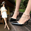 Womens-Patent-Rivets-Heels-T-Straps-Sandals-Pointed-Toe-Shoes-Stilettos-Zsell thumbnail 2