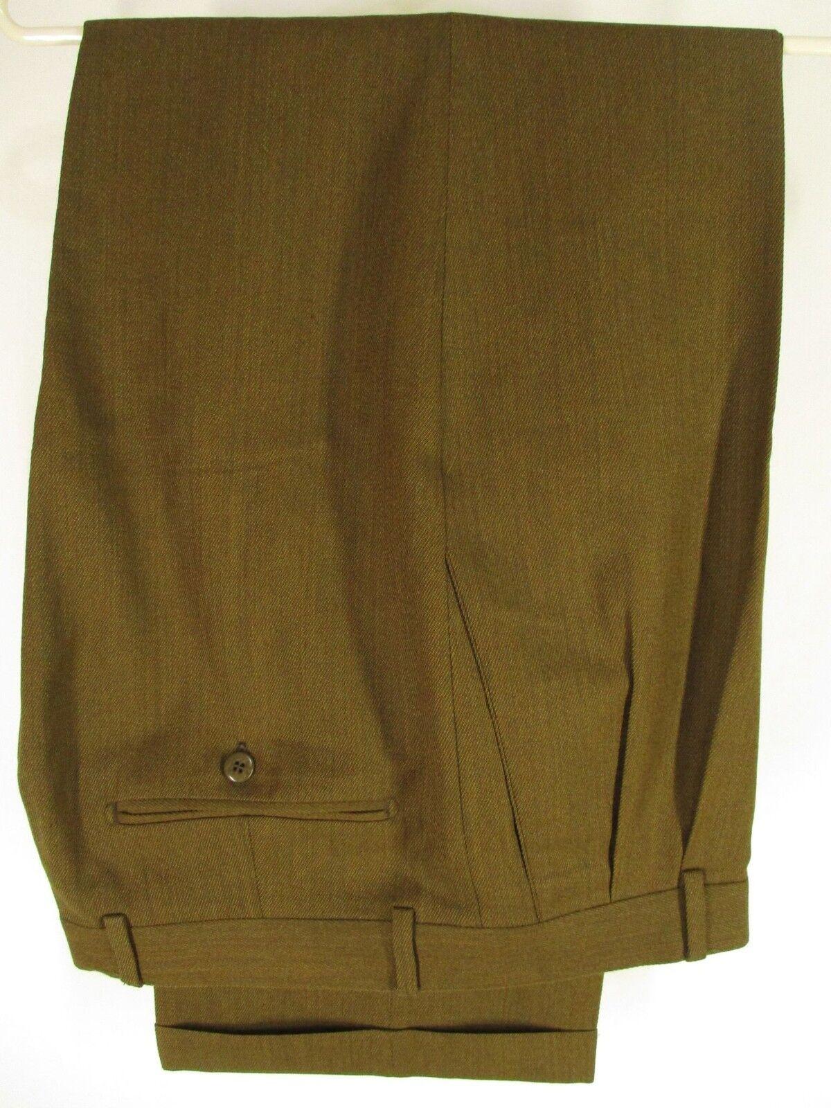 Zanella Bennett Mens Brown Pleated Wool Dress Pants 35x28.5