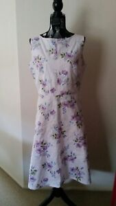 NEW-Lavender-Floral-fit-and-flare-dress-size-12-14