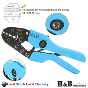 10 - 35 mm² Ratchet Ferrule Bootlace Crimper Crimping Tool Crimp Pliers