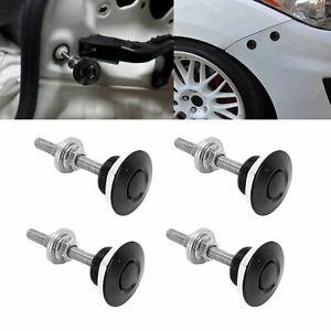 4pcs Black Push Button Quick Release Car Bumper Hood Pin Bonnet Lock Latch Clip