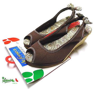 OFFERTA DEFONSECA sandali donna campesina tessuto corda zeppa Valenza marrone