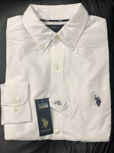 U-S-Polo-Assn-Men-039-s-Classic-Fit-Long-Sleeve-Solid-White-Oxford-Shirt-NWT