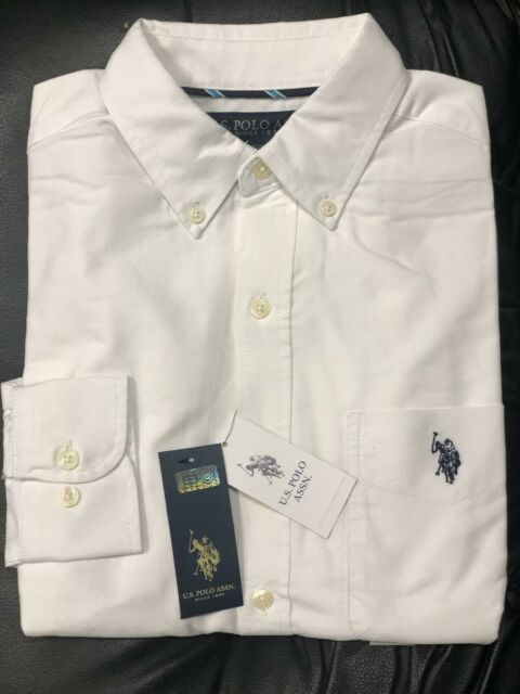 U.S. Polo ASSN. Men's Classic Fit Long Sleeve Solid White Oxford Shirt NWT
