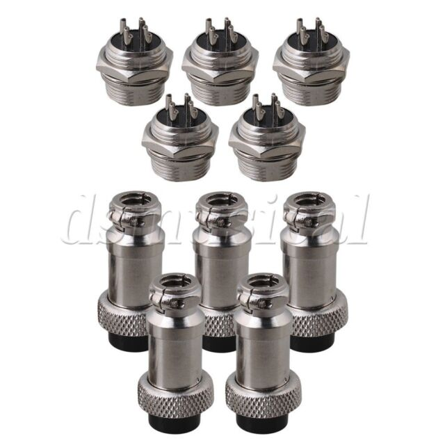 BQLZR Silver Aviation Plug 6-Pin 16mm GX16-6 Metal Male Female Panel Connector Pack Of 5