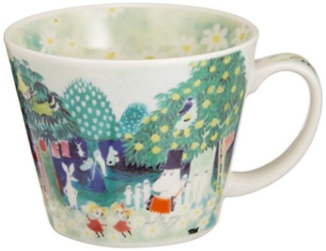 Moomin Valley Water Color Soup Mug Cup Yamaka Free Ship w/Tracking# New Japan