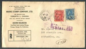 CANADA-MULTIPLE-FRANKING-FOREIGN-DESTINATION-REGISTERED-COVER-TO-KITTANNING-PA