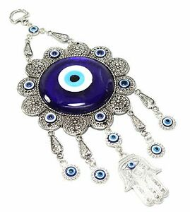 "Turkish Blue Evil Eye 5/"" Hamsa Hand Flower Amulet Wall Hanging Protection Decor"