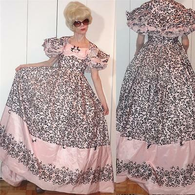 UNIQUE 1850s style DRAMATIC PINK black velvet applique GOWN Roses Full skirt XS