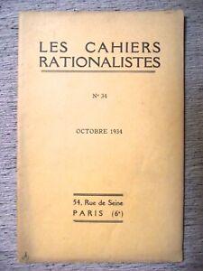 LES-CAHIERS-RATIONALISTES-N-34-1934-LOUIS-VERVAECK-LE-CRIME-ET-LA-PEINE