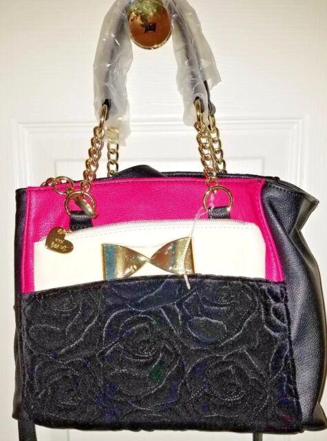 BETSEY JOHNSON Fuchsia black CROSSBODY satchel handbag   shoulder  POUCH  purse