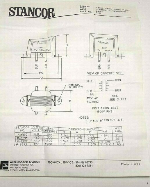Stancor P-8393 Transformer; Chassis; Pri:117V; Sec:12V; Sec:1.2A; Lead; 50//60Hz; 3.25In.In.W; 2In.In.H;