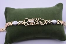 "7.5"" I Love You Kisses Hearts Bracelet 14K Gold Clad Silver 925 XOXO Mom's Day"
