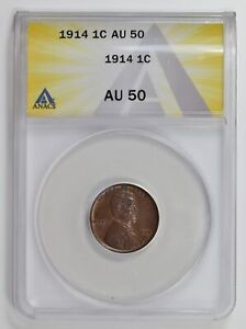Small Cents Lincoln, Wheat Ears Reverse 1914  ANACS AU-50