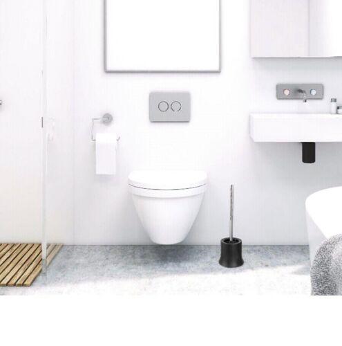 2er Set KLINOO Premium Toilettenbürste WC Bürste schwarz Bürstenkopf Edelstahl