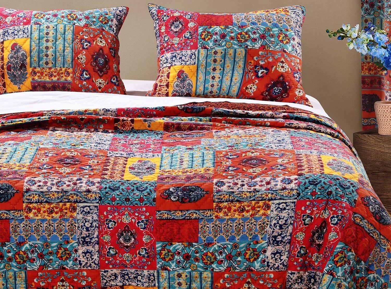 2pc INDIE Twin Quilt Set Bohemian Motif Floral Vine Boho Hippie Beatnik Red bluee
