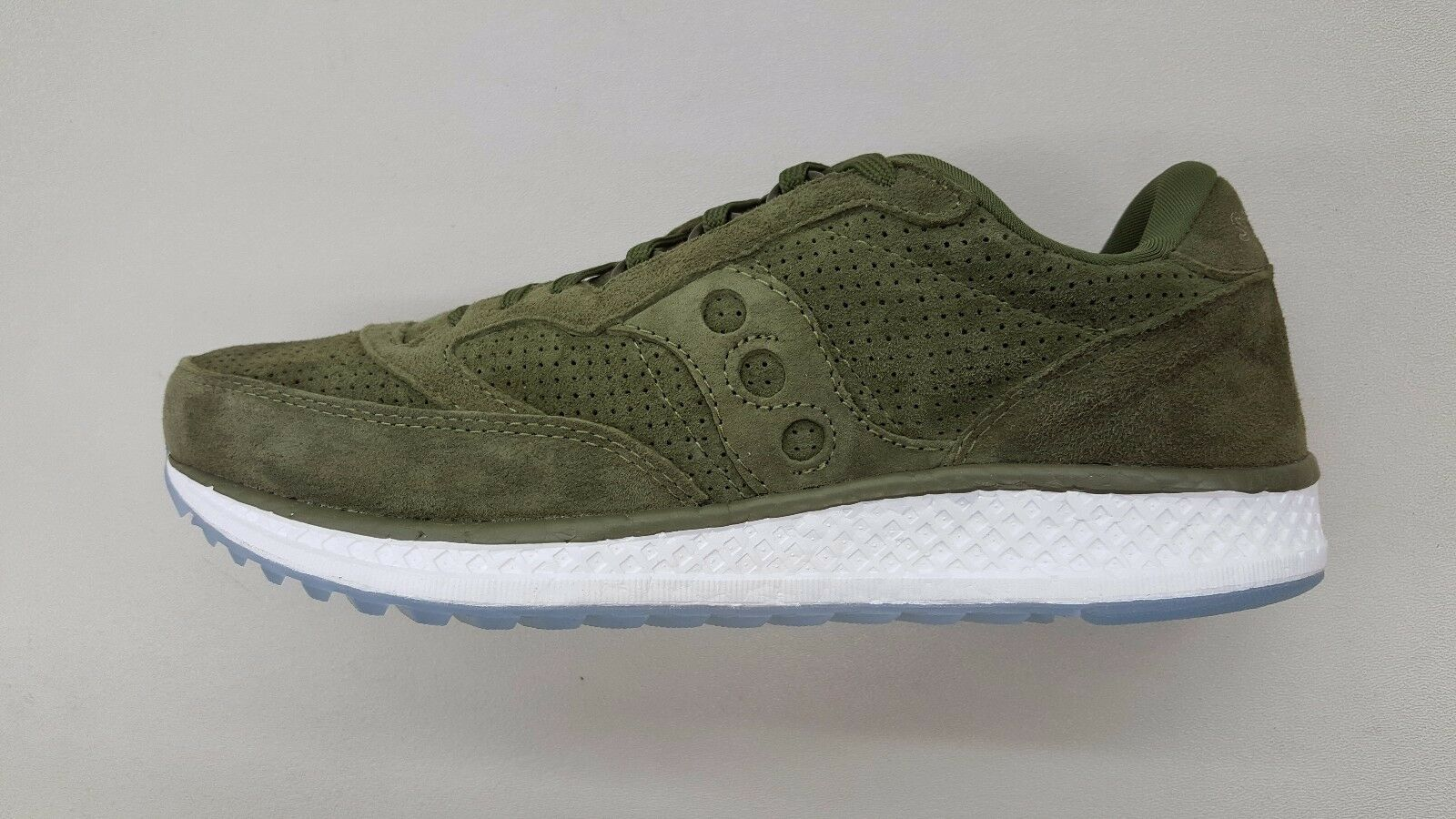 SAUCONY FREEDOM RUNNER SUEDE GREEN WHITE ICE SOLE Uomo SIZE SNEAKERS S40001-3