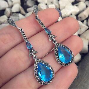 Silver-Women-Jewelry-Water-Drop-Rhinestone-Drop-Dangle-Earrings-Blue-Crystal