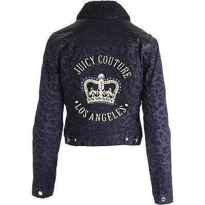 NWT JUICY COUTURE Black Label Black Animal Print Denim Lined Fur Jacket $358