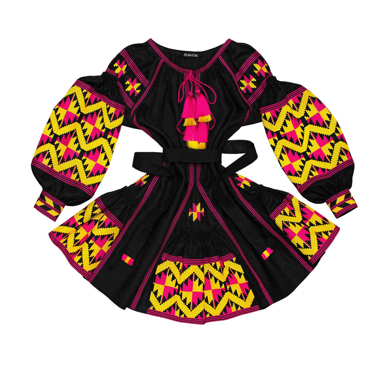 Vestido Corto Negro Bordado ucraniano  Boho-Folk étnico Vyshyvanka. todos Los Tamaños  ventas al por mayor