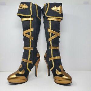 Funtasma Pleaser Women's Arena Sz-9 Knee-High Boot Black/Gold Microfiber. IOB