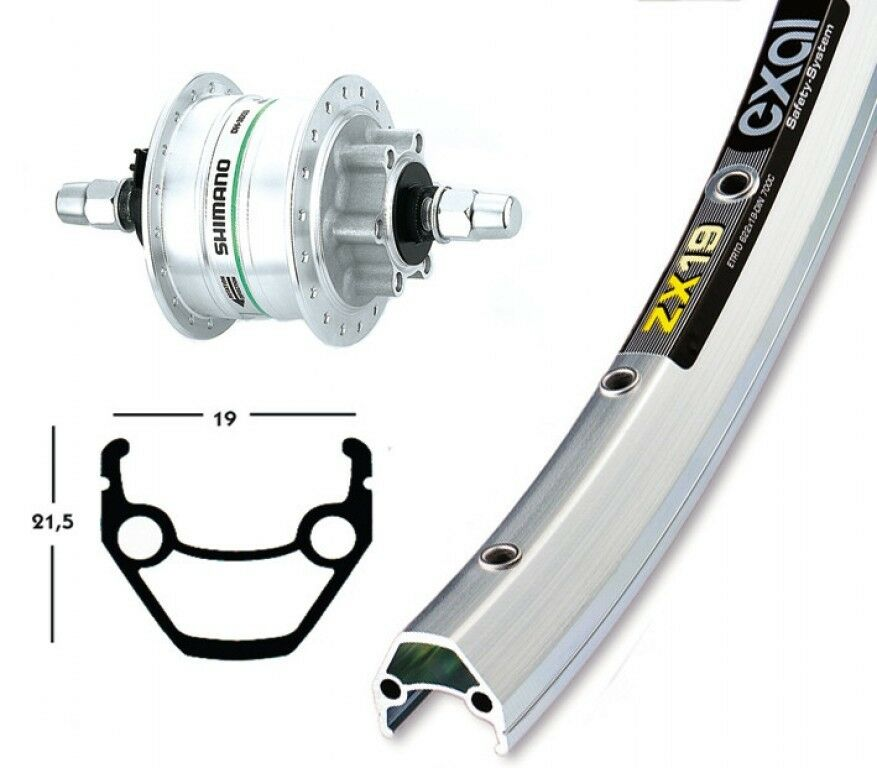 Bike-Parts 26″ Front Wheel Exal Zx 19 + Hub Dynamo Shimano Dh-3d32 6-loch