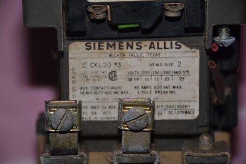 SIEMENS ALLIS CONTACTOR CXL20*3 SIZE SZ 2 COIL 110//120 V