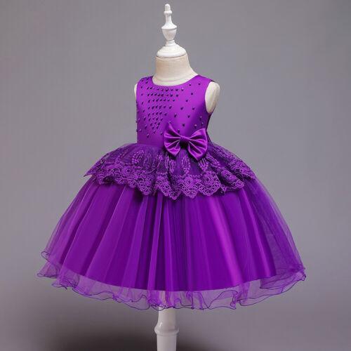 NEW Kid Flower Girl Wedding Bridesmaid Pageant Formal Dress Purple Size 3-7 Z62