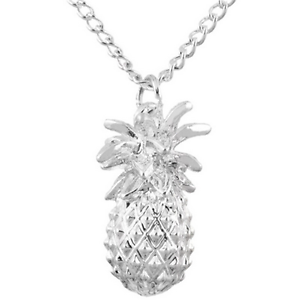 Image is loading Hot-925-Silver-Plated-3D-Hawaiian-Pineapple-Pendant-