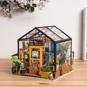 Details About Rolife Diy Wooden Dollhouse Kits Miniature Furniture Led Cathys Flower House